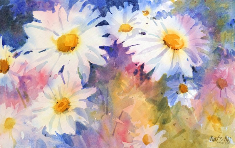 2020 art painting watercolor floral daisies by Kate Kos - Give Me Your Answer