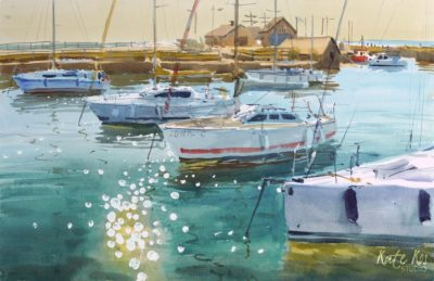2020 art painting watercolor seascape harbour Courtown by Kate Kos - The Rhythm of Harbour