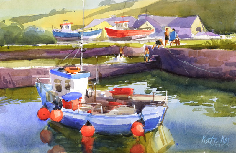2019 art painting wtercolor plein air Courtown by Kate Kos - Tombstoning