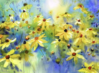 2020 art painting watercolor floral daisies by Kate Kos - Dance of the Sun
