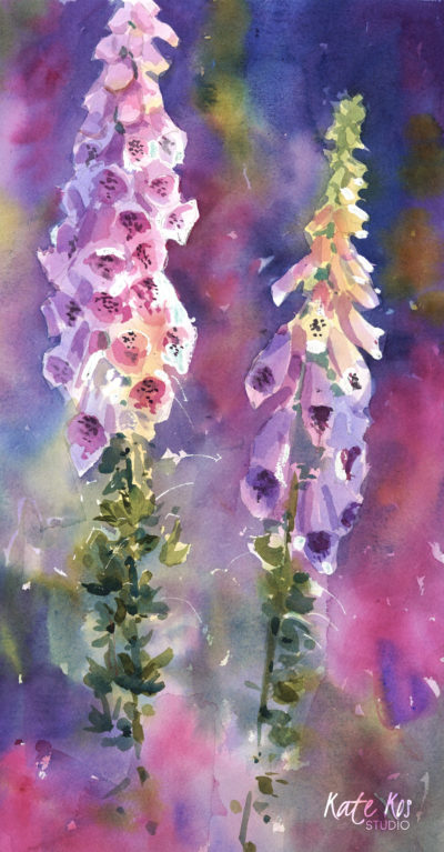 2020 art painting watercolor floral foxfloves by Kate Kos - Heavy Blooms
