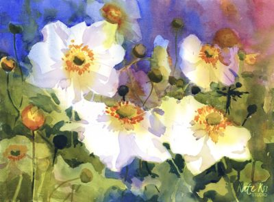 2019 art painting watercolor floral japanesse anemones by Kate Kos - Sun Kissed Morning