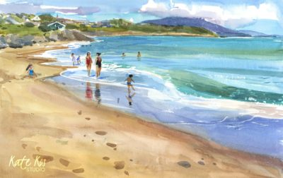 2020 art painting watercolor seascape beach Ardamine by Kate Kos - Parknacross Bay Beach