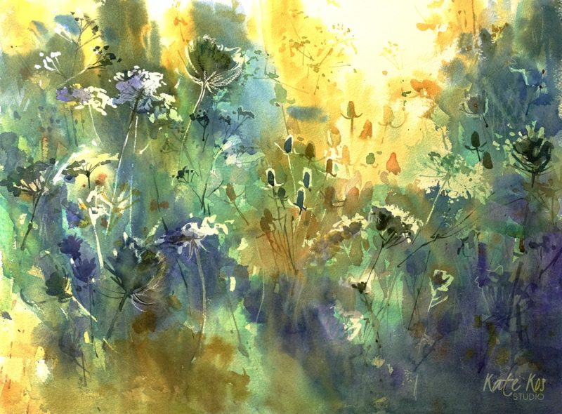 2019 art painting wtercolor floral landscape by Kate Kos - Wilderness