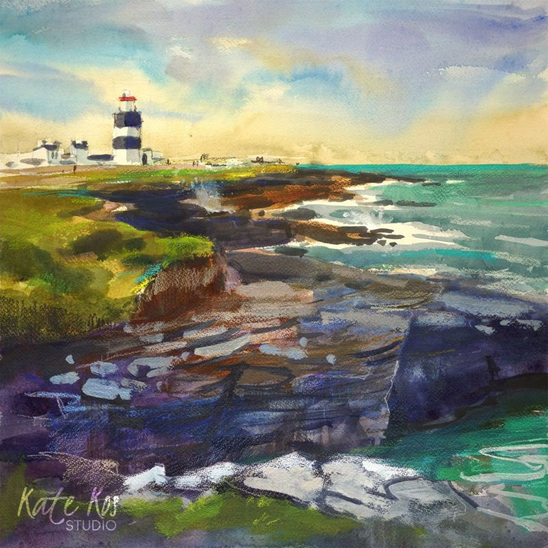 2020 art painting mixed media seascape Hook Head by Kate Kos - Voice of the Sea