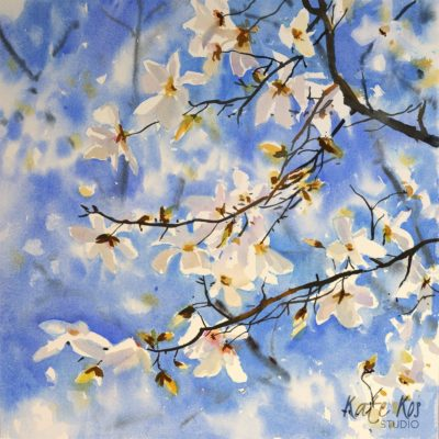 2020 art painting watercolor floral by Kate Kos - White Magnolia