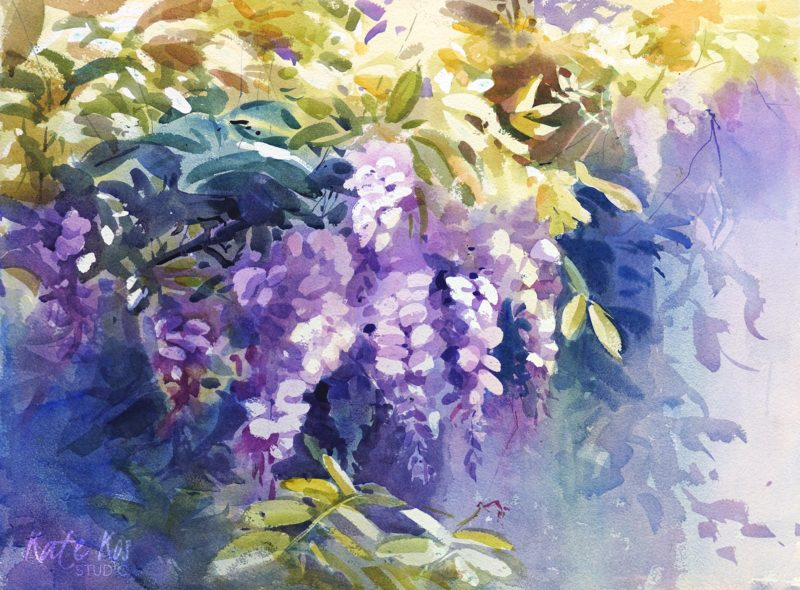 2020 art painting watercolor flowers by Kate Kos - Lavender Swirls