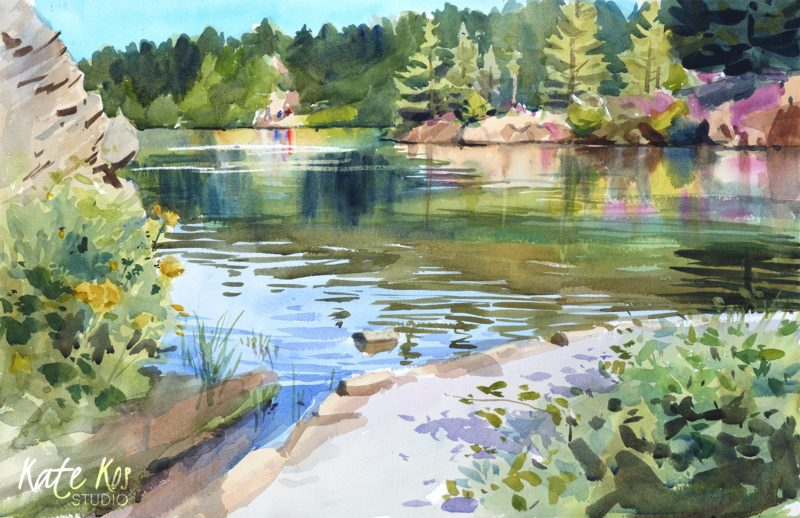 2020 art painting watercolor landscape plein air by Kate Kos - Forth Mountain