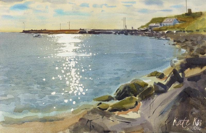 2020 art painting watercolour seascape plein air Cahore by Kate Kos - Let Me Stop Here