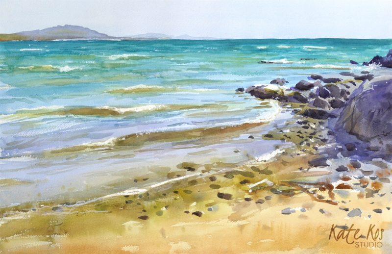 2020 art painting watercolour seascape waves Poulshone by Kate Kos - Turquoise