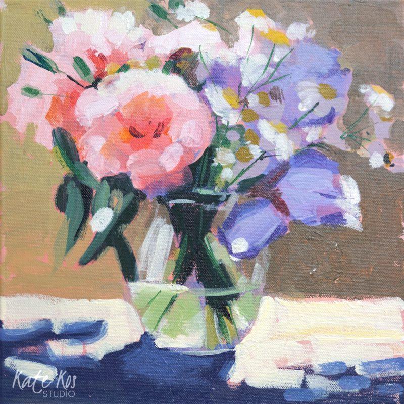 2020 art painting acrylic flowers by Kate Kos - Peonies and Irises