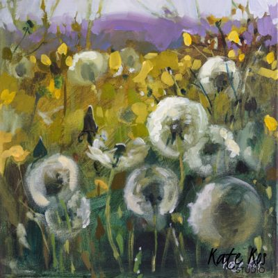 2020 art painting acrylic landscape flowers meadow by Kate Kos - Clocks