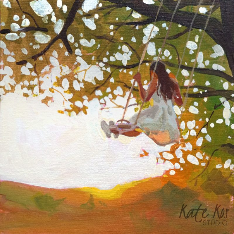 2020 art painting acrylic landscape meadow by Kate Kos - Memories of the Heart