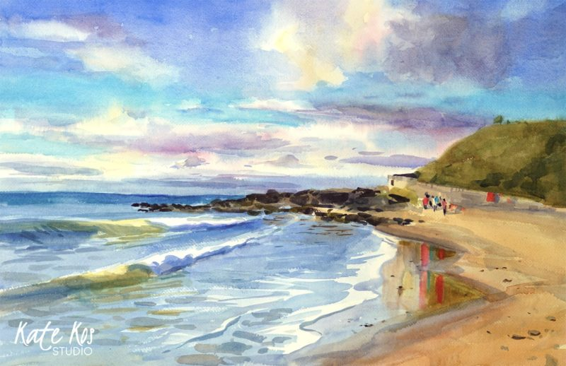 2020 art painting watercolor seascape Ballymoeny by Kate Kos - My Blue World