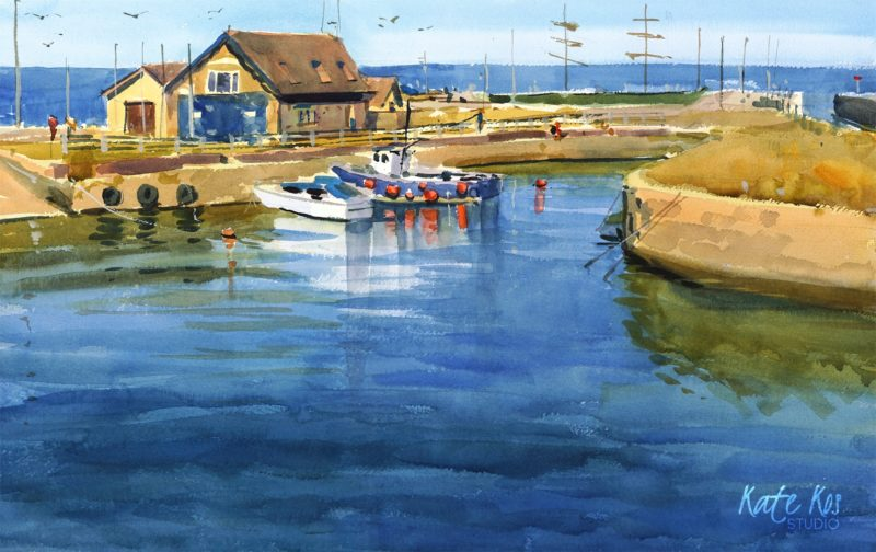 2020 art painting watercolor seascape harbour Courtown by Kate Kos - June