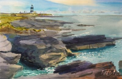 2020 art painting watercolor seascape lighthouse by Kate Kos - The Rocky Ledge