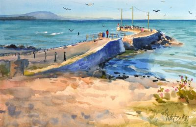 2020 art painting watercolor seascape pier by Kate Kos - Cahore