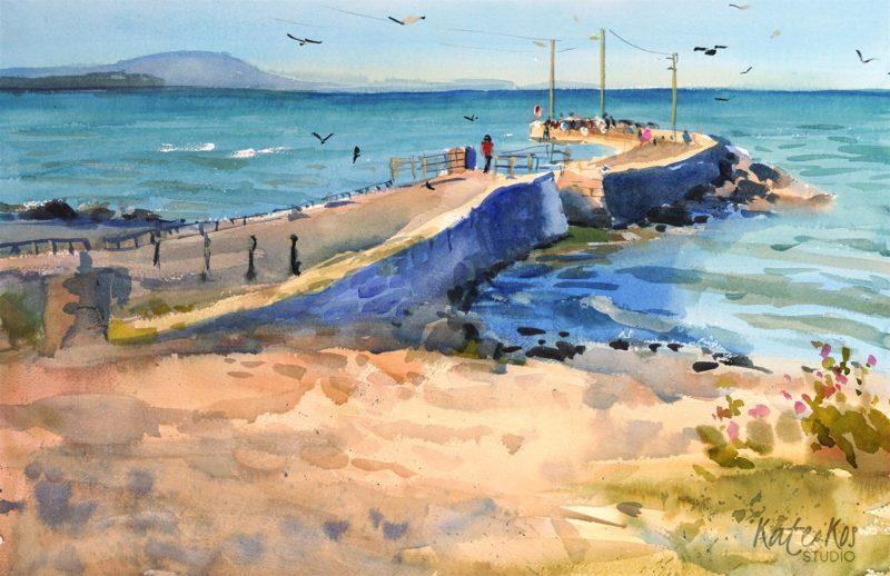 2020 art painting watercolor seascape pier by Kate Kos - Cahore