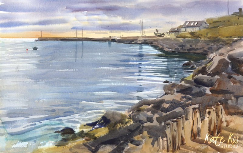 2020 art painting watercolour seascape Cahore plein air by Kate Kos - The New Sight
