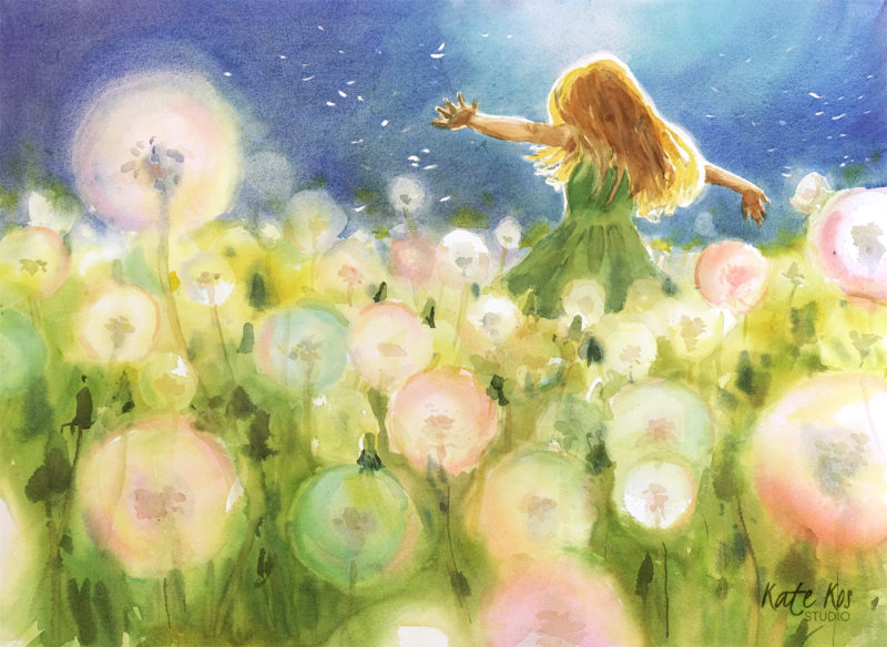 2019 art painting watercolor landscape girl clocks by Kate Kos - Candy Floss