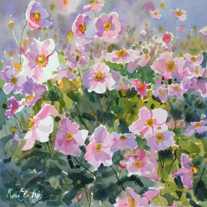 2020 art painting watercolor floral anemones windflowers by Kate Kos - September Charm