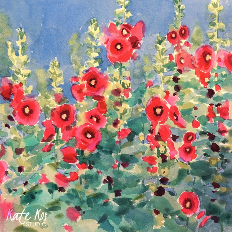 2020 art painting watercolor floral hollyhocks by Kate Kos - The Garden I Knew