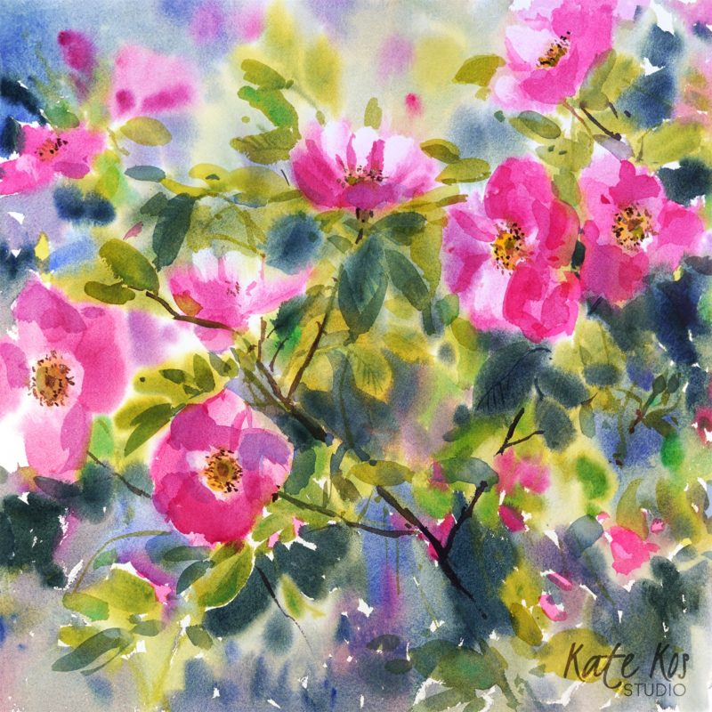 2020 art painting watercolor floral wild rose by Kate Kos - Rose Petals II