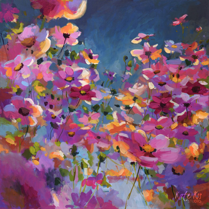 2020 art painting acrylic floral cosmos by Kate Kos - Fireflies