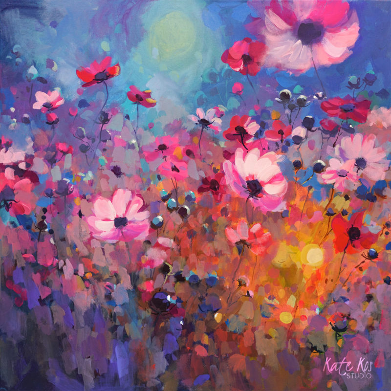 2020 art painting acrylic floral cosmos by Kate Kos - Pink Treasure