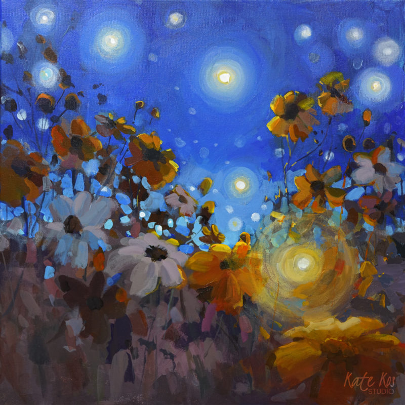 2020 art painting acrylic floral cosmos night by Kate Kos - Fireflies