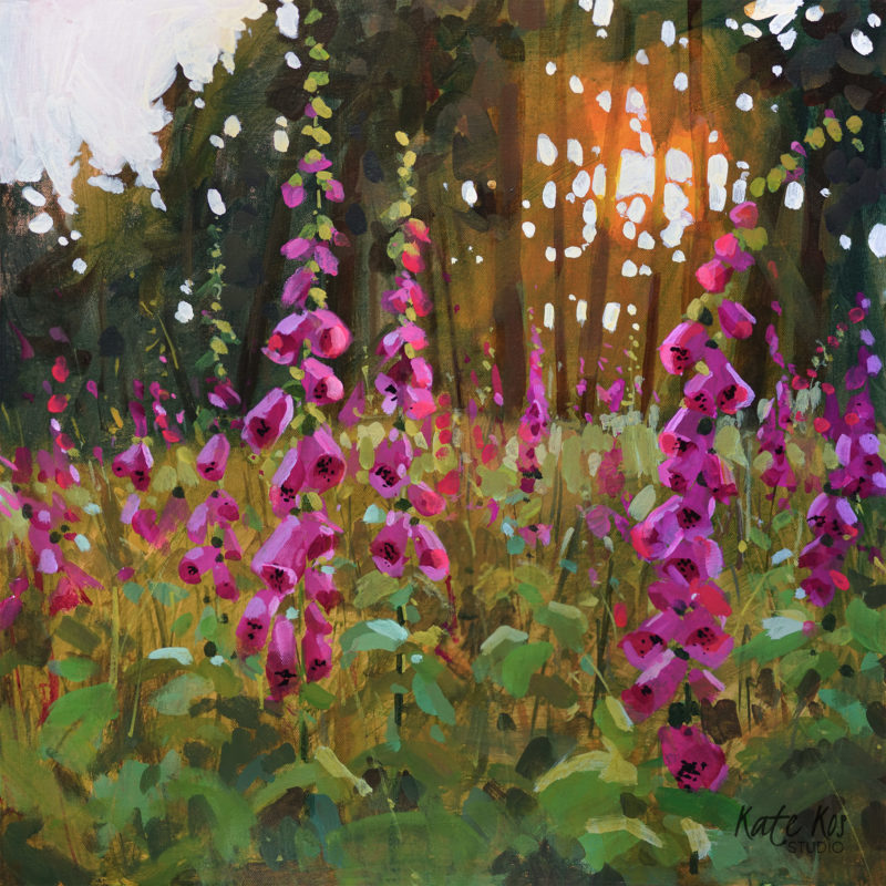 2020 art painting acrylic floral foxgloves woodland by Kate Kos - Never Seen