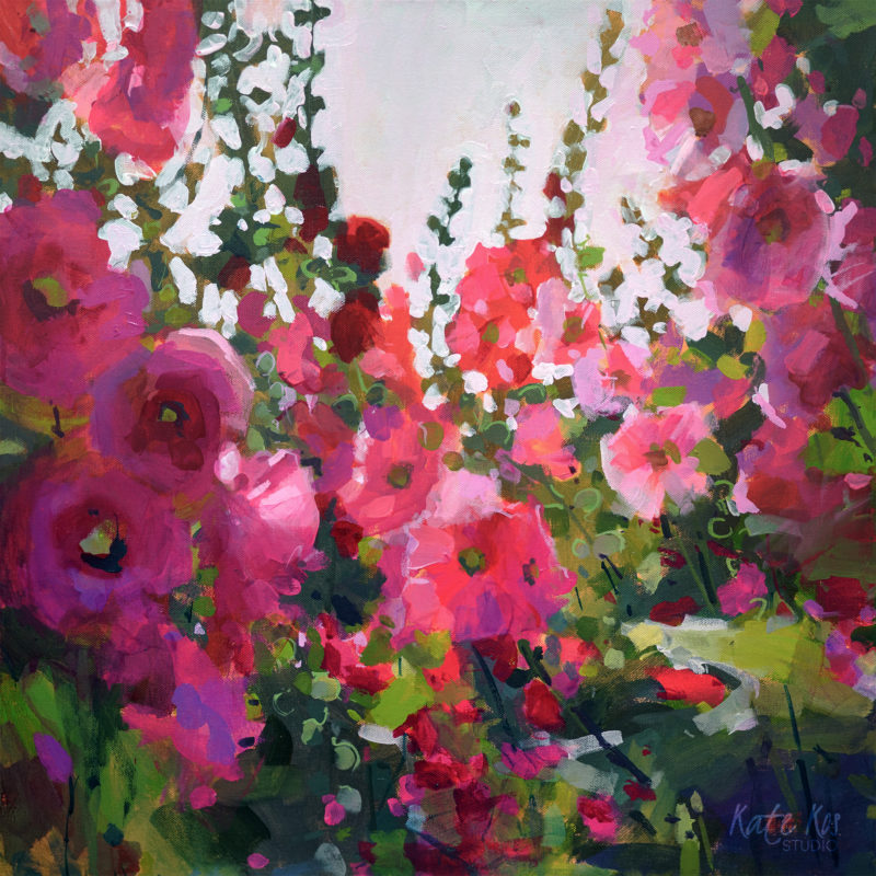 2020 art painting acrylic floral hollyhocks by Kate Kos - It Seems Like Yesterday