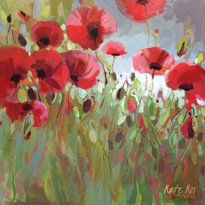 2020 art painting acrylic floral poppies by Kate Kos - Wearing Red