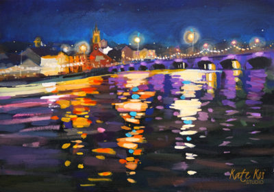 2021 art painting acrylic seascape reflections Arklow bridge by Kate Kos - 19 Arches