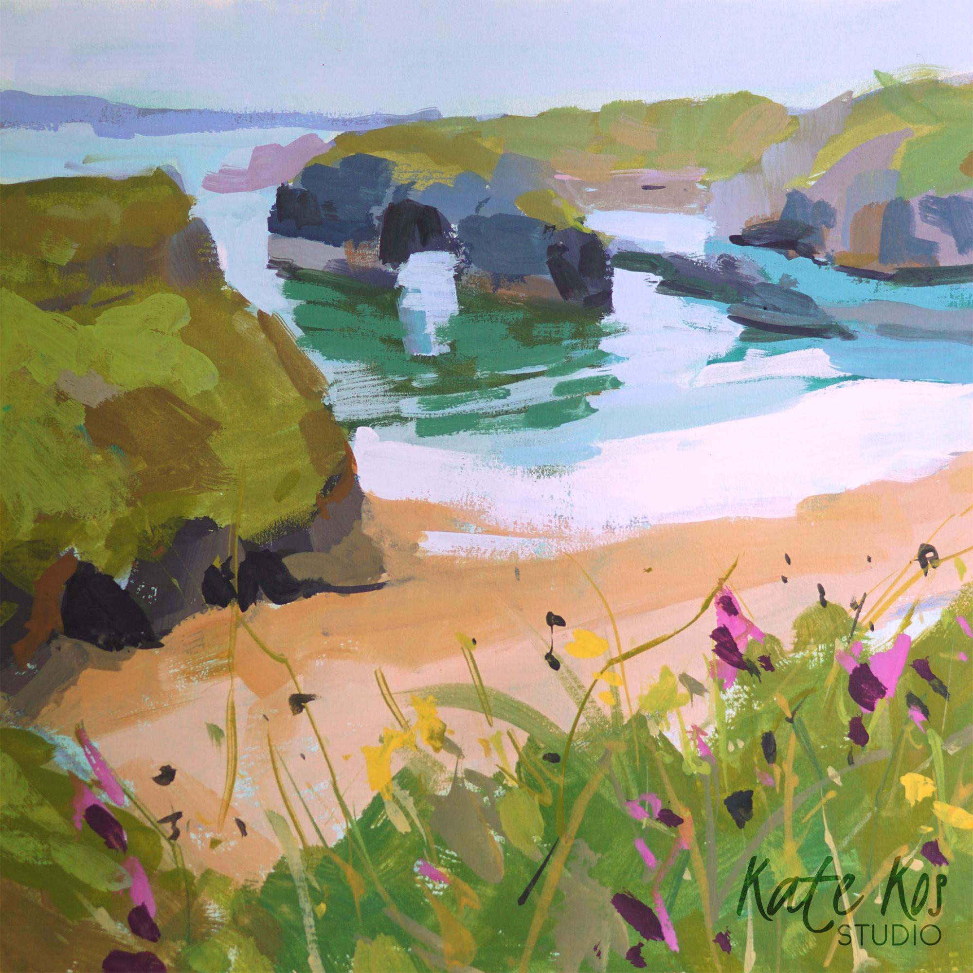 2021 art painting gouache seascape Ballybunion by Kate Kos - Square Away 3
